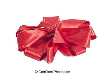 크게, 빨강, 공단, 선물, bow., ribbon., 고립된, 백색 위에서, 배경