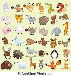 크게, 세트, 만화, 동물