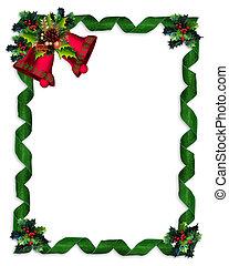 크리스마스, 경계, 호랑가시나무, 종, 와..., 리본