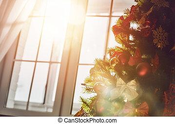 크리스마스 나무, 와, 장난감, 지팡이