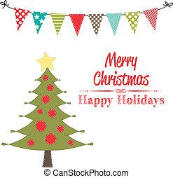 크리스마스 나무, 클립 아트, 와, 기치, 또는, 깃발천