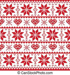 크리스마스, 뜨개질을 하는, 패턴, 카드