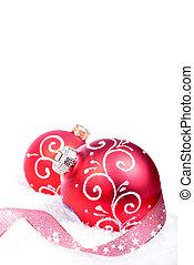크리스마스, 배경, 와, 빨강, 공, 고립된, 통하고 있는, 그만큼, 백색 배경