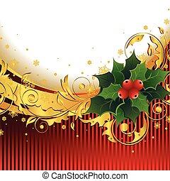 크리스마스, 배경, 와, 호랑가시나무