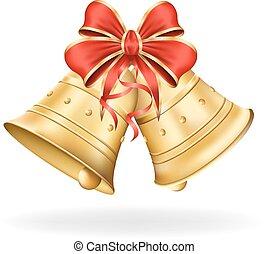 크리스마스 벨, 와, 빨간 활, 백색 위에서, 배경., 크리스마스, decorations., 벡터,...