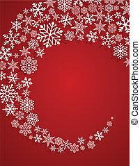크리스마스, 빨강 배경, 와, 눈송이, 패턴