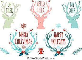 크리스마스, 사슴, 가지진 뿔, 벡터, 세트