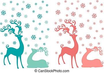 크리스마스, 사슴, 벡터, 세트