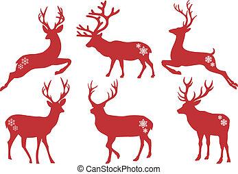 크리스마스, 사슴, 숫사슴, 벡터, 세트