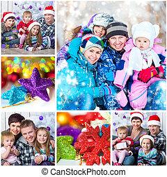 크리스마스, 사진, 와, a, 행복한 가족