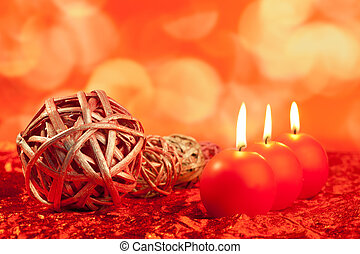 크리스마스 양초, 와, 말리는, 지팡이, 통하고 있는, 빨강