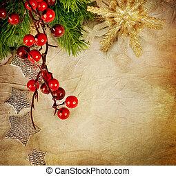 크리스마스, 인사, card., 포도 수확, 스타일