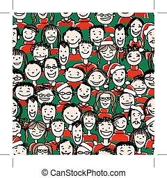 크리스마스 파티, 와, 사람의 그룹, seamless, 패턴