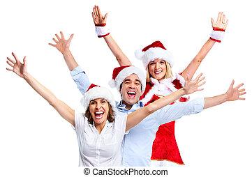 크리스마스, 파티., 행복하다, 사람.
