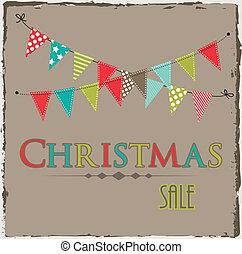 크리스마스, 판매, 본뜨는 공구, 와, 깃발천, 또는, 기치