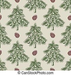 크리스마스, 패턴, 나무, 녹색