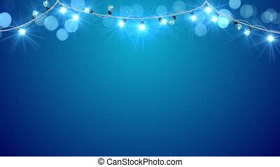 크리스마스, 푸른 빛, 전구, loopable