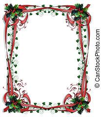 크리스마스, 호랑가시나무, 경계, 리본, 구조, 3차원