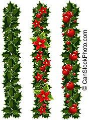 크리스마스, 화환, 의, 호랑가시나무