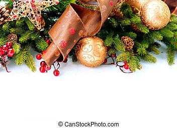 크리스마스 훈장, 휴일 훈장, 고립된, 백색 위에서