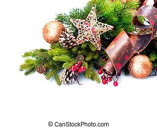 크리스마스, decoration., 휴일 훈장, 고립된, 백색 위에서