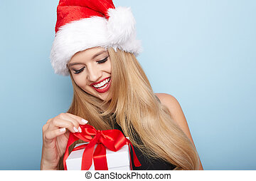 크리스마스, santa, woman.