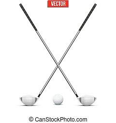 클럽, 골프, ball., vector.