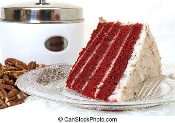 클로우즈업, 베다, 빨강, 케이크, 벨벳