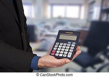 클로우즈업, 의, 그만큼, 계산기, 에서, 손, 개념, 의, 재정, 와..., 경제학