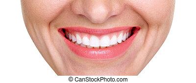클로우즈업, 의, 미소, 와, 백색, 건강한 이