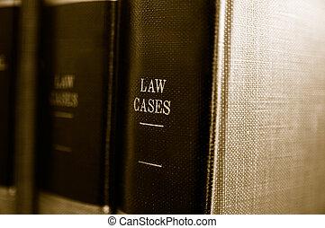 클로우즈업, 의, 법률 서적, 통하고 있는, a, 선반