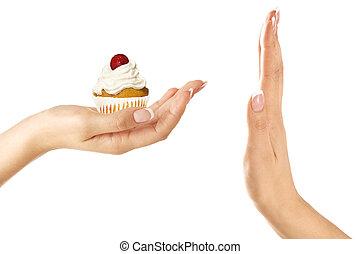 클로우즈업, 의, 아름다운, 여성 손, 면하다, a, 기름진, 컵케이크