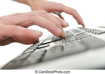 클로우즈업, 의, 청년, 손, 타이프라이터로 치기, 통하고 있는, 컴퓨터 키보드