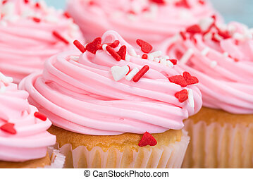 클로우즈업, 의, 핑크, 연인 날, 컵케이크, 와, 소량