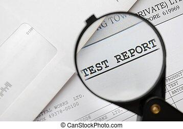 클로우즈업, 의, 확대경, 통하고 있는, 테스트, 보고