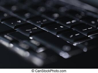 클로우즈업, 의, backlit, 컴퓨터, 휴대용 퍼스널 컴퓨터 키보드, 선택적인 초점, 통하고 있는, 큐