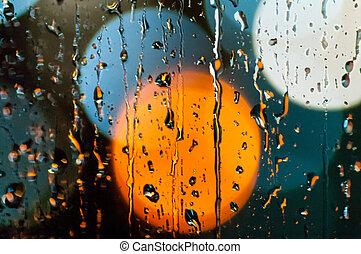 클로우즈업, 착색되는, bokeh, 떼어내다, 비, 교통, 밤, 빛, 은 떨어진다, 배경, 유리
