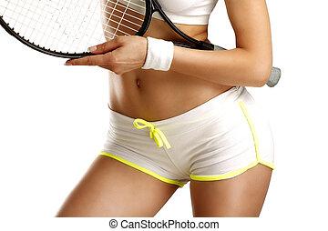 클로우즈업, 통하고 있는, 엉덩이, 의, a, 소녀, 보유, a, 테니스 라켓