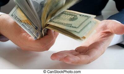 클로우즈업, 4k, 피트수, 의, 실업가, 보유, 와..., 노는 것, 와, 크게, 돈의 스택