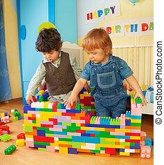 키드 구두, 건물, a, 벽, 의, 조형의 블록