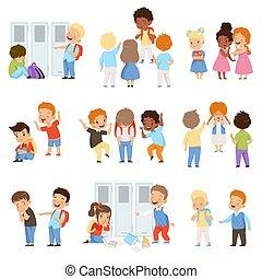 키드 구두, 괴롭히는 것, 그만큼, weaks, 세트, 나쁜 행동, 충돌, 사이의, 아이들, 조롱,...