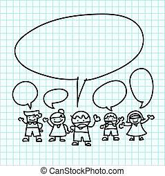 키드 구두, 손, 끌기, 만화, 통하고 있는, 그래프, paper.