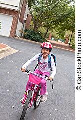 키드 구두, 자전거를 탐, 에, 학교, 통하고 있는, internation, 걷다, 와..., 자전거, 에, 학교, 일
