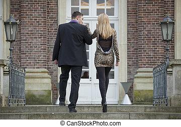 키스하는 것, 여자, 남자, 손