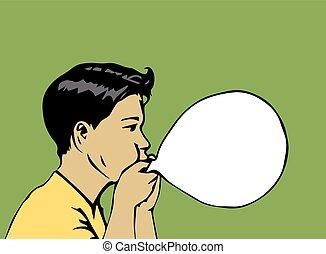 타격, 소년, 위로의, 삽화, balloon-vector