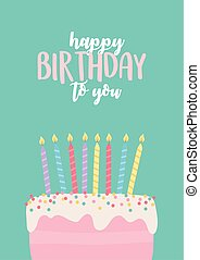 타는 것, 장식, 케이크, 생일, 축하, 초, 파티, 행복하다