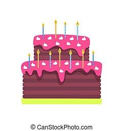 타는 것, 초, 고립된, 생일, 벡터, 케이크