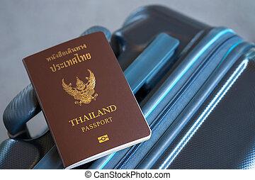 타이, 개념, 여행 가방, 여행, 여권