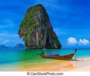 타이, 외래의, 열대적인, 해변., 푸른 하늘, 모래, 와..., 전통적인, 보트