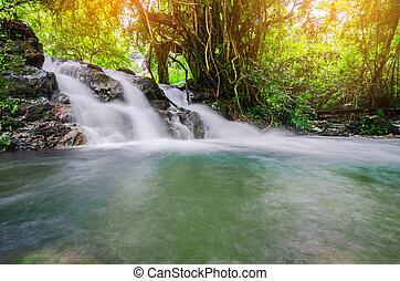 타이, waterfall., sarika